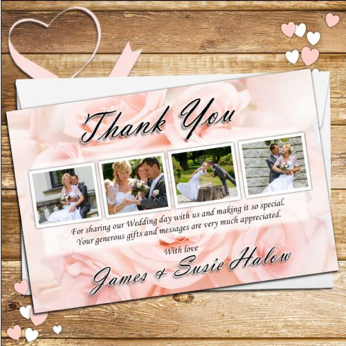 10 Personalised Pink Roses Wedding Thank you Photo Cards N136